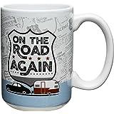 Zak Designs Adventurer 15 oz. Ceramic Coffee Mug, On the Road Again