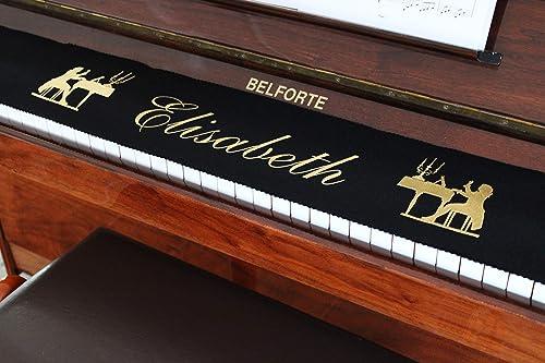 Tastenläufer Klavierläufer  bestickt 100/% Wolle Individualisiert mit Wunschname