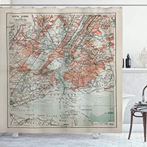 """Ambesonne NYC Shower Curtain, New York Old Map from End of 19th Century History Historical Antiques, Cloth Fabric Bathroom Decor Set with Hooks, 70"""" Long, Turquoise Beige"""