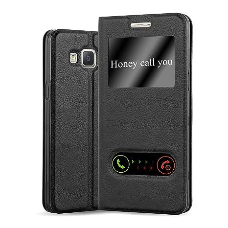 Cadorabo Funda Libro para Samsung Galaxy A3 2015 en Negro Cometa - Cubierta Proteccíon con Cierre Magnético, Función de Suporte y 2 Ventanas- View ...