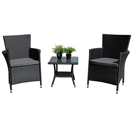 PATIOROMA 3PC Patio Outdoor Rattan Furniture Set Cushioned Garden Table And  Chairs With Gray Cushions,