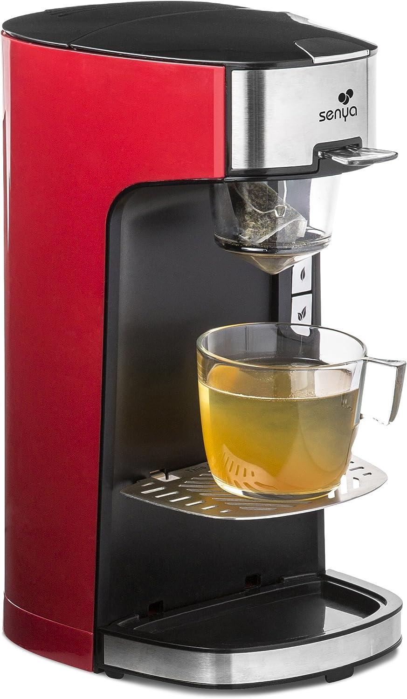 Senya SYBF-CM013 Machine à Thé Tea Time Théière Électrique Compatible Thé en Vrac ou en Sachet avec infuseur Amovible 1415 W - Rouge