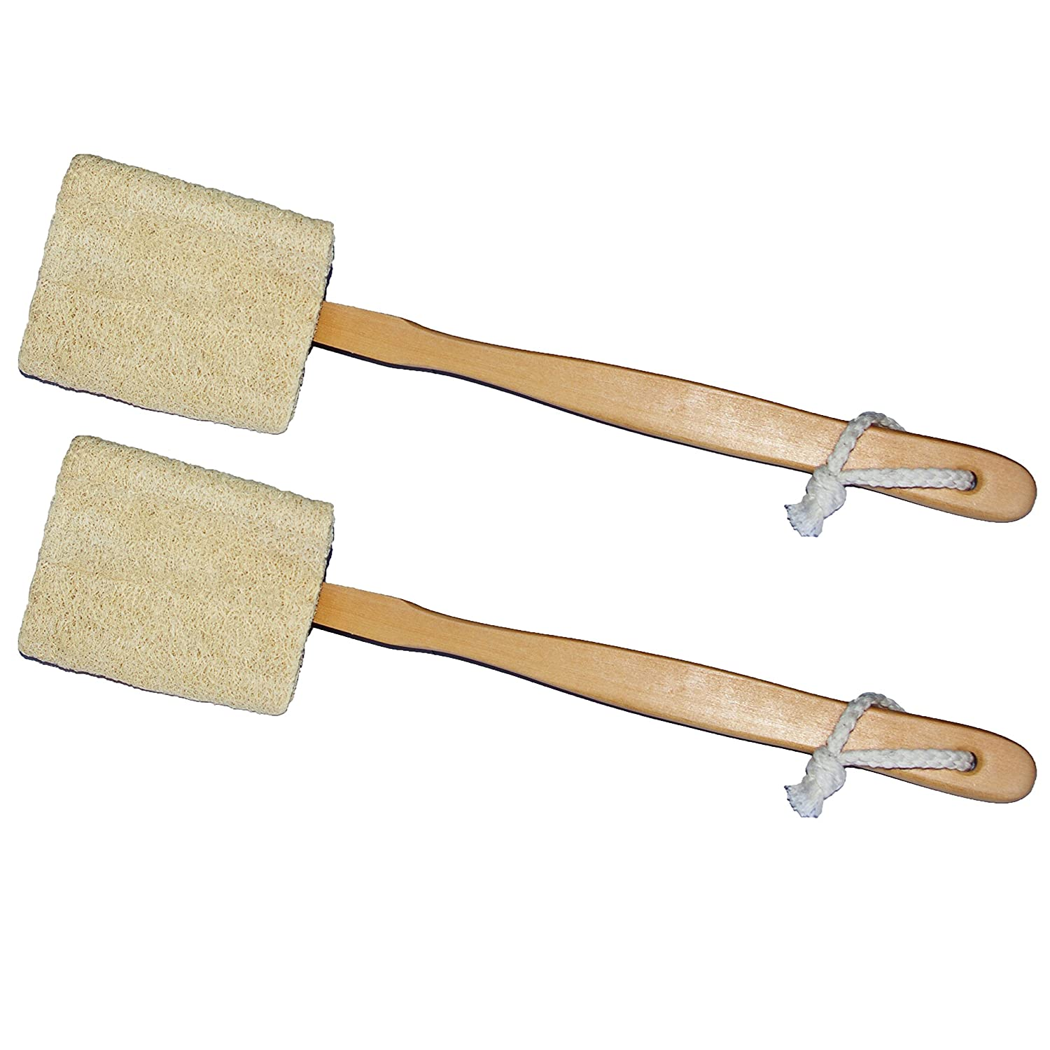 2 Pack Natural Exfoliating Loofah Bath Brush On a Stick - With Long Wooden Handle Back Brush For Men & Women - Shower Sponge Back Body Scrubber