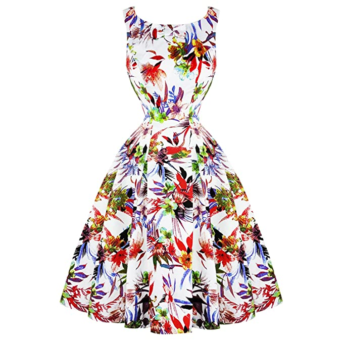 Hearts & Roses Londres Blanco Liliy Vintage Retro 1950s Acampanado Vestido de Verano - Blanco,