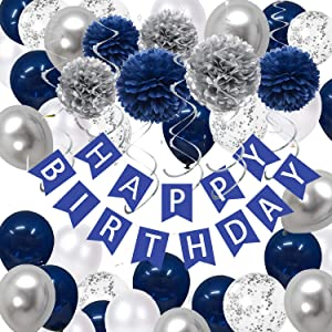 43Pack Navy Silver Birthday Party Decorations - Navy Blue White Silver Party Favor Including HAPPY BIRTHDAY Banner, Tissue Paper Flowers Pom Pom, Latex Balloons and Silver Hanging Swirl Crafts Supplies Set Kit for Neutral Baby Shower, Outer Space Birthday for Adult, Graduation Ceremony, Bachelorette Party, Wedding Celebrate Decor