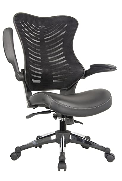 OFFICE FACTOR Executive Ergonomic Office Chair Back Mesh Bonded Leather Seat  Flip Up Armrest Molded Seat