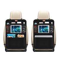 AEMIAO Organisateurs de Voiture Kick Mats (2 Pack), Organisateur Siege Arriere Voiture Multi-Poches Rangement pour Voiture, Imperméable avec Transparent PVC iPad Holder pour enfants et accessoires