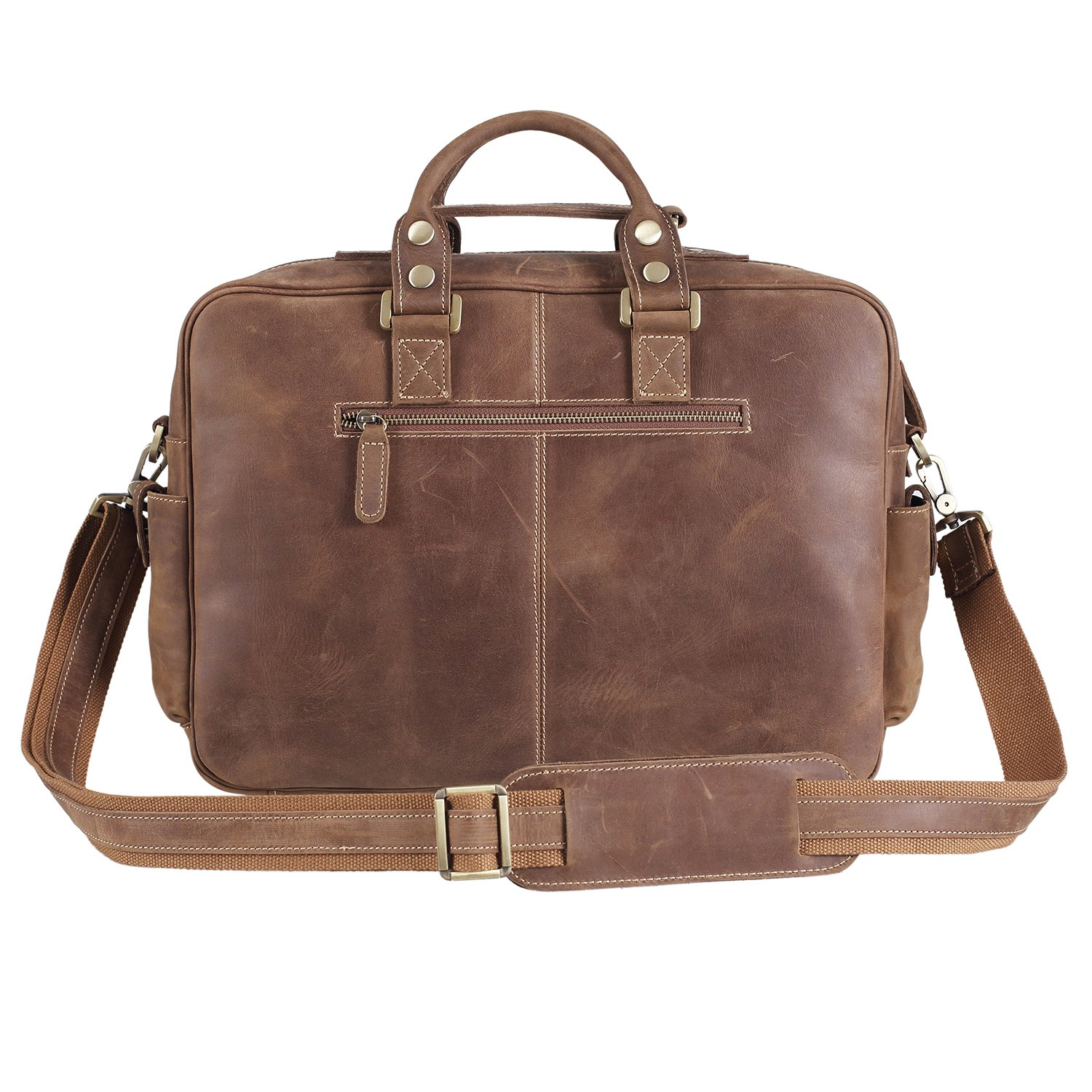 Texbo Vintage Genuine Cowhide Leather Messenger Briefcase Shoulder Bag Tote by Texbo (Image #4)