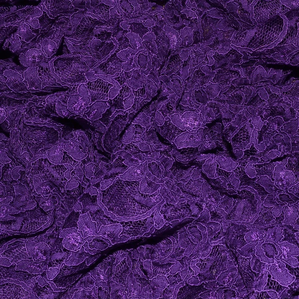 Purple Heavy Corded Lace Fabric (RE) SKU07427