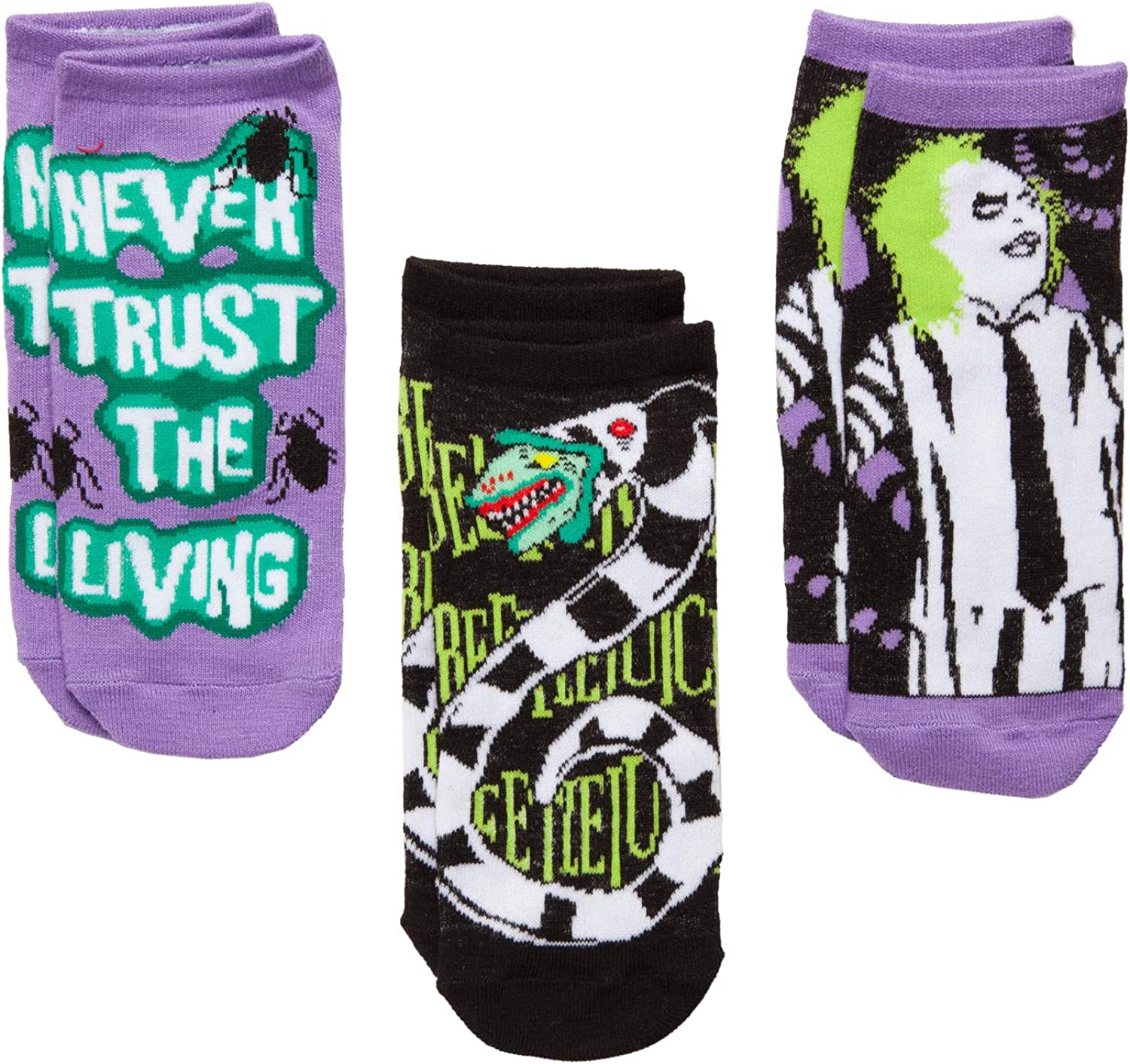 Amazon Com Beetlejuice Beetlejuice Sandworm Never Trust The Living 3 Pack Low Cut Socks Clothing