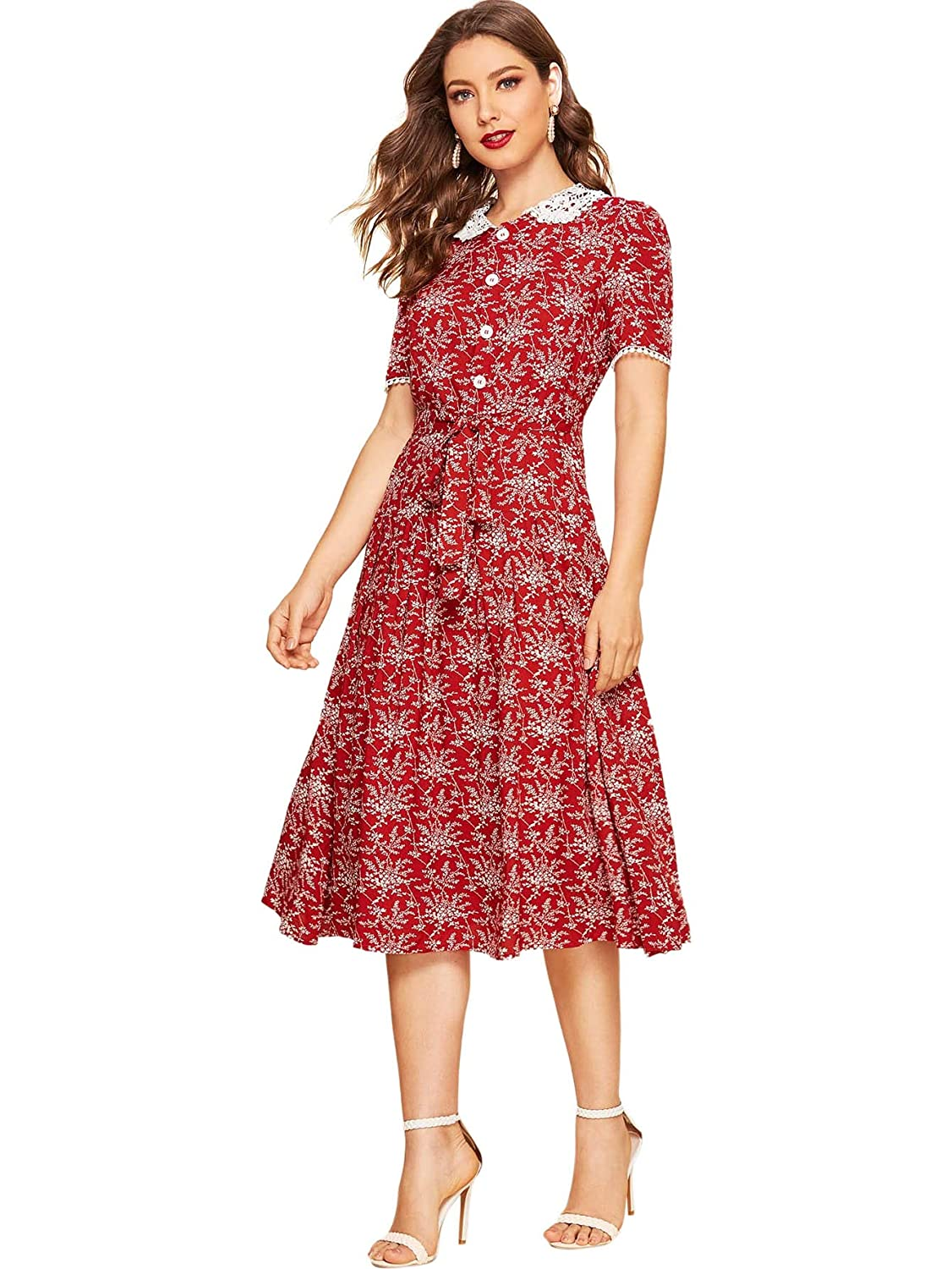 500 Vintage Style Dresses for Sale | Vintage Inspired Dresses Verdusa Womens 30s Guipure Lace Collar Belted Leaf Print Vintage Midi Dress $28.99 AT vintagedancer.com