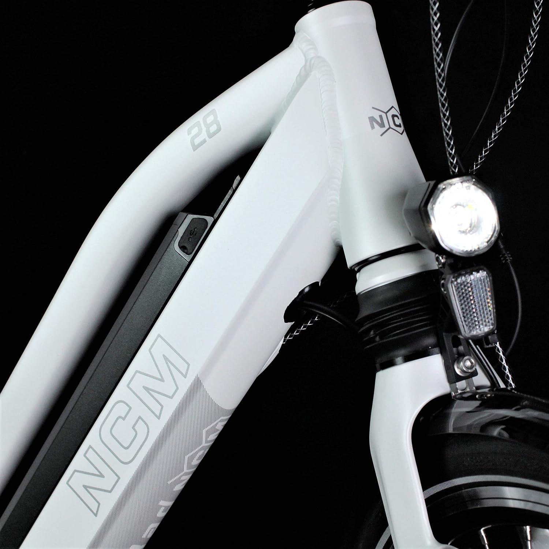 Bater/ía 36V 16Ah 576Wh 28 NCM Milano MAX N8C Bicicleta el/éctrica de Trekking con Motor Central y Freno contrapedal