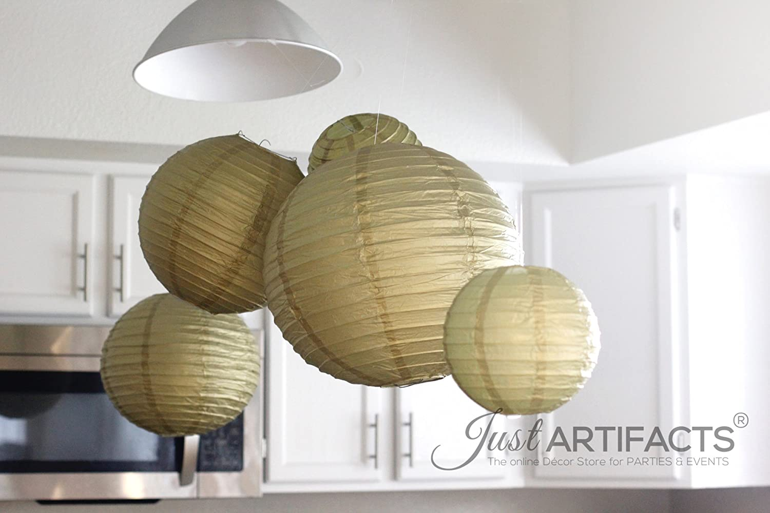Chinese//Japanese Paper Lanterns 8inch, 1 2 Just Artifacts 2 White Assorted: 16inch 12inch, - Click for More Colors!