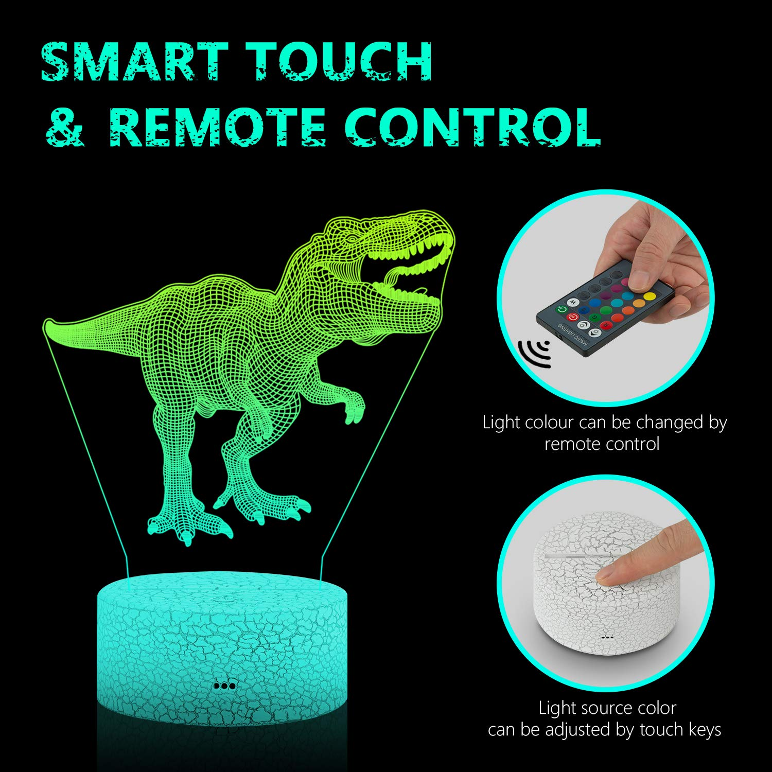 MaiKeEr 3D Night Light Dinosaur for Kids, 3D Illusion Lamp with Remote and Touch Control 16 Colors Changing with 3 Acrylic Panels for Birthday Dinosaur Toy Boys Girls