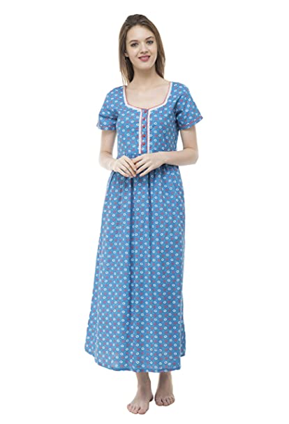 63fd48a07a Bhumante Women Beautiful Cotton Blue Night Gown Nighty with Lace Design &  Contrast Piping: Amazon.in: Clothing & Accessories