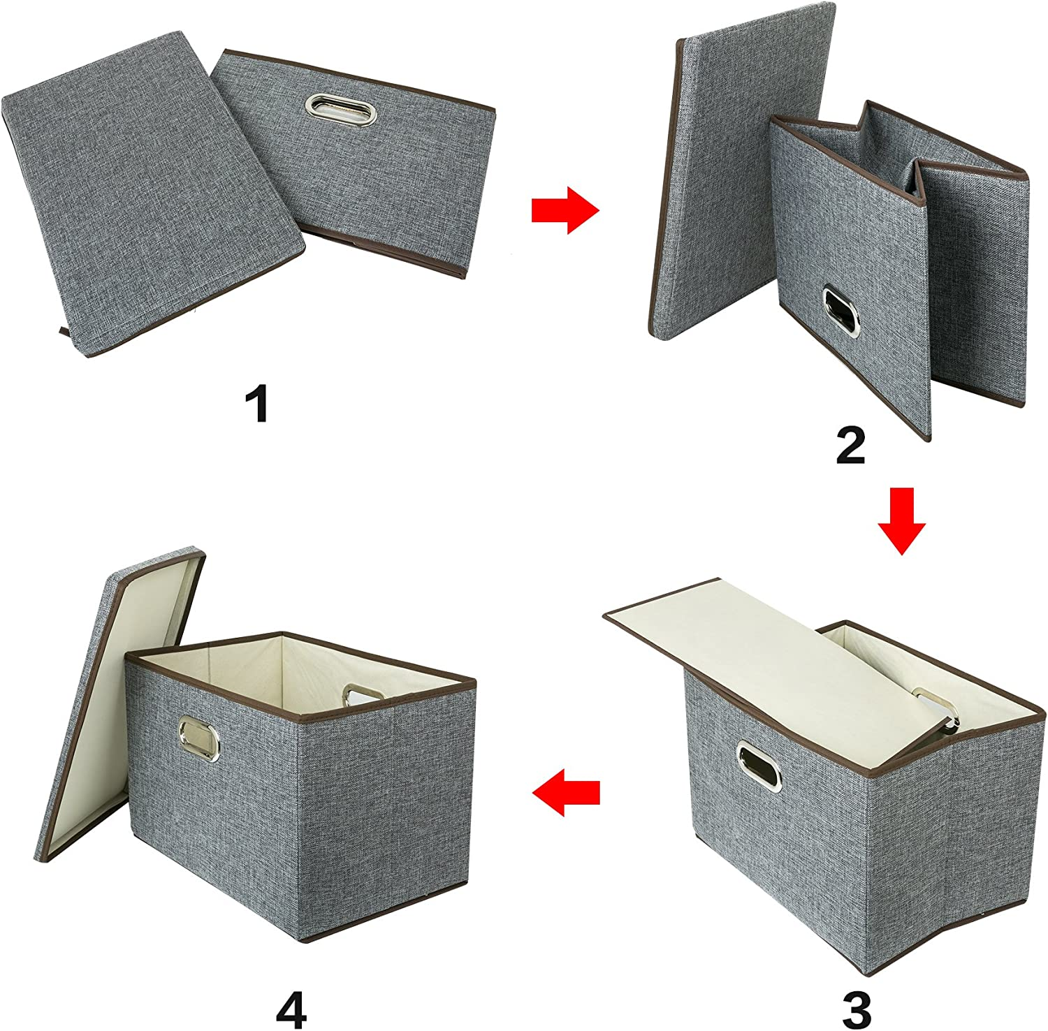 Zonyon Large Storage Box 17.7/'/' Sturdy Collapsible Fabric Storage Bin Container Basket Home Cube Organizer with Removable Lid for Bedroom,Closet,Shelves,Office,Grey,2 Packs
