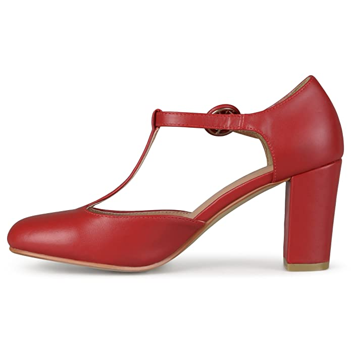 Vintage Inspired Halloween Costumes Brinley Co. Womens T-strap Chunky Heel Round Toe Classic Matte Pumps $29.99 AT vintagedancer.com