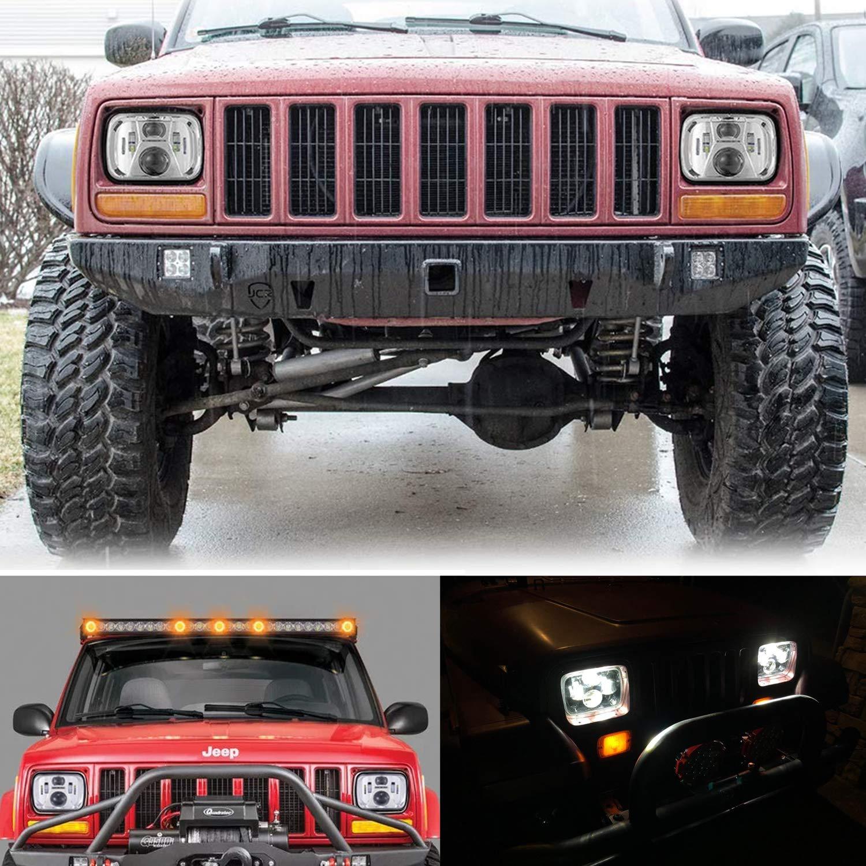 NSLUMO 5x7 Led Headlight 110W 6000K High Low Beam Led Sealed Beam Headlamp 2pcs for Jeep Cherokee XJ H6054 7x6 Led Headlights Silver W// H4 Plug H5054 6054 6053 6052
