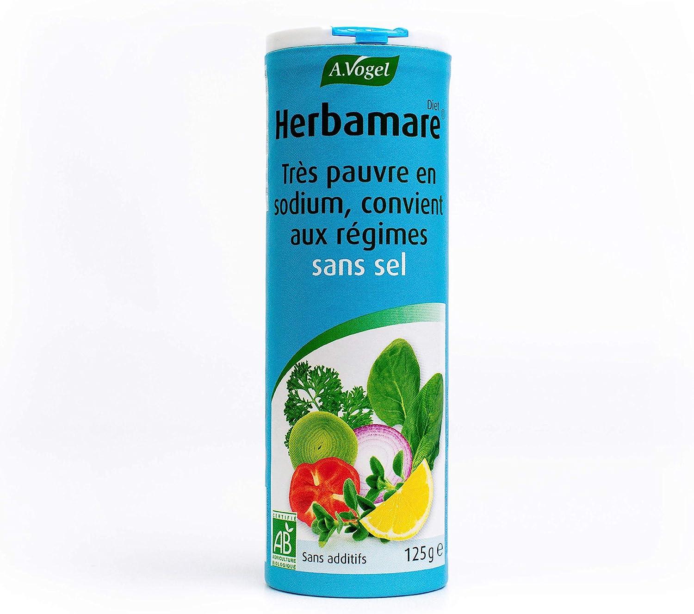 A. VOGEL  Herbamare Diet  Sel de Régime Bio à Base de Chlorure de Potassium   Très Pauvre en Sodium  Adapté aux Régimes Sans Sel  Savoureux et Corsé ...