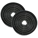 SPARES2GO Round Charcoal Vent Filters for Baumatic Oven Cooker Hoods (Pack of 2)