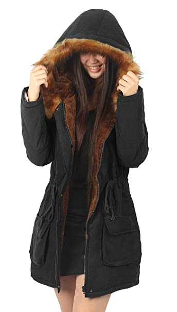 79799a8af iLoveSIA para mujer abrigo con capucha con forro de pelo sintético para  hombre: Amazon.es: Ropa y accesorios