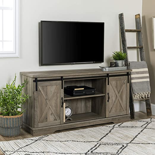 """Rustic TV Stand Console Up To 65/"""" Barn Door Wood Farmhouse Entertainment Center"""