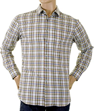 Paul Smith para Hombre Camisas Manga Larga Check Shirt 172h 732. ps1562 Blanco Crema Large: Amazon.es: Ropa y accesorios