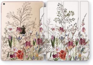 Wonder Wild Case Compatible with Apple iPad Spring Grow Mini 1 2 3 4 Air 2 Pro 10.5 12.9 Tablet 11 10.2 9.7 inch Cover Stand Pink New Peony Seasons Flower Pretty Sweet Beautiful Tulips Leaves Design