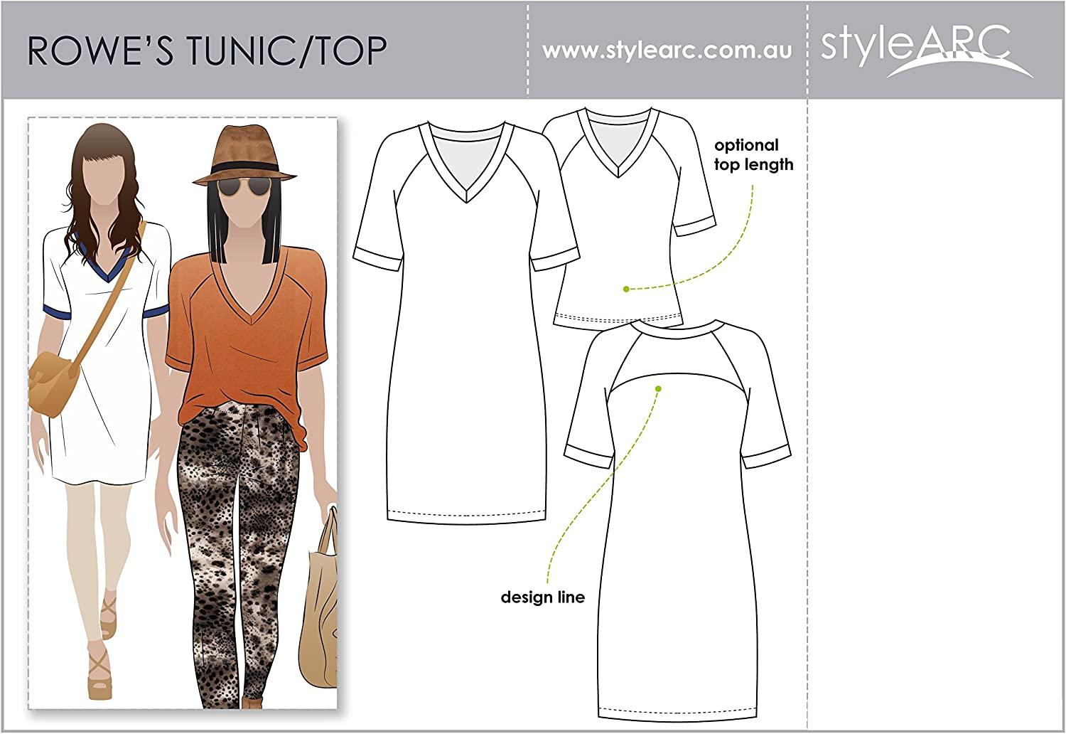 Click for Other Sizes Available Rowes Raglan Tunic Top Sizes 04-16 Style Arc Sewing Pattern