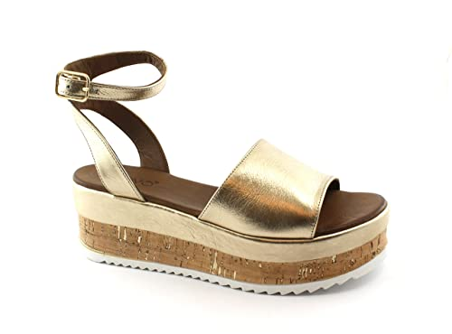 34588ac64ba Inuovo 8832 Gold Gold Sandals Woman Wedge Platform Leather Strap 41   Amazon.co.uk  Shoes   Bags