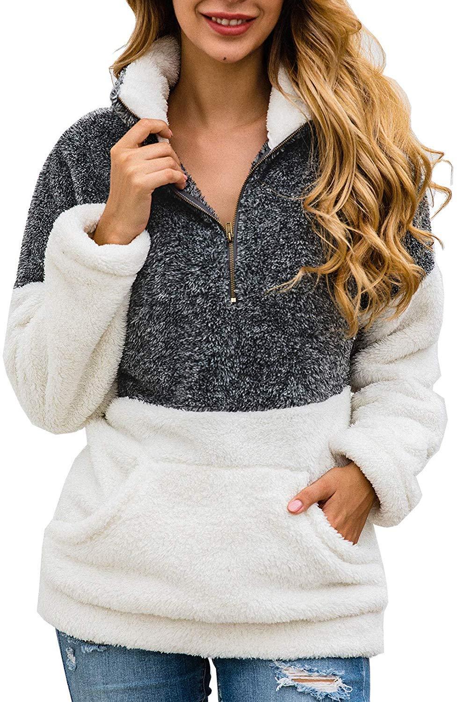 ZESICA Women's Autumn Winter Long Sleeve Zipper Sherpa Fleece Sweatshirt Pullover Jacket Coat by ZESICA