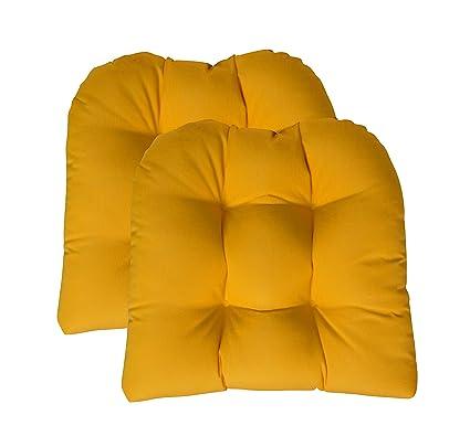 Set Of 2 Sunbrella Canvas Sunflower Yellow Large 21u0026quot; X 21u0026quot; U  Shape Wicker