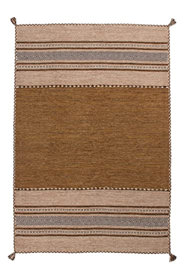 Teppich Wohnzimmer Orient Carpet Klassisches Design RUG Alhambra 335 Braun 100 Baumwolle 120x170cm