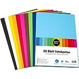 perfect ideaz cartulina cuché A4 de colores 50 hojas, cartulina, de color, en 10 colores diferentes, grosor de 300g/m²…