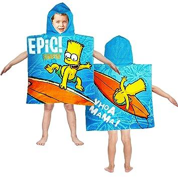 Bart Simpson Poncho - Surfing toalla con capucha para la playa/piscina: Amazon.es: Hogar