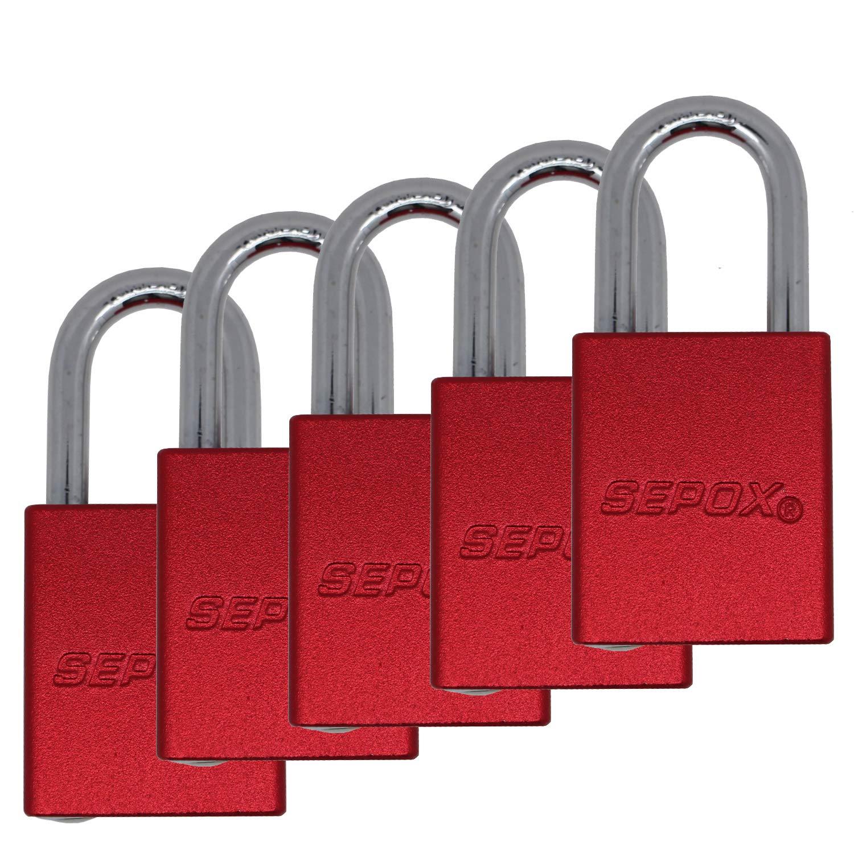 SEPOX Lot de 5 cadenas en aluminium massif avec cl/és identiques 38 mm