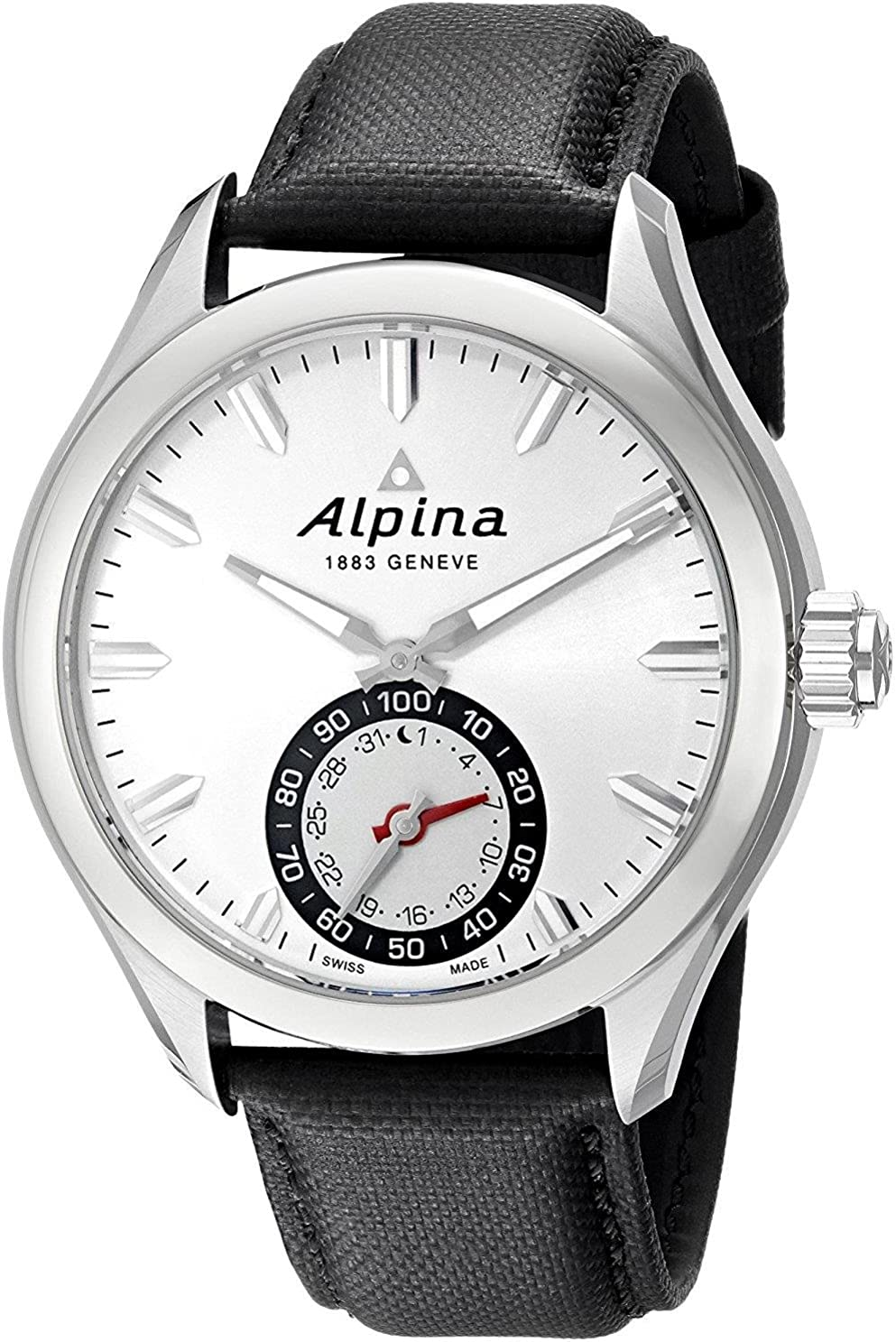Alpina Horological Smartwatch Mens Fitness Watch - 44mm Silver Face Swiss Quartz 2 Year Battery Life Running Watch - Black Leather Band Water ...