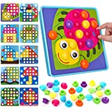 Button Art Toy Color Matching Mosaic Pegboard Early Learning Educational Preschool Kids' Motor Skills Games