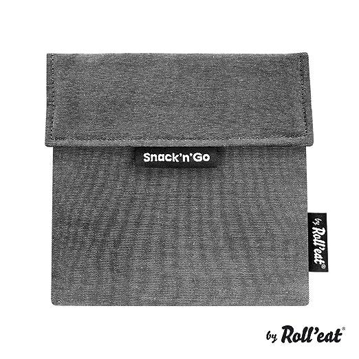 Rolleat - SnacknGo Eco - Bolsa Merienda Porta Snacks Ecológica y Reutilizable sin BPA | Funda Porta Sandwich, Unisex, Color Negro