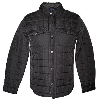 Tasso Elba Mens Quilted Shirt Jacket Brown At Amazon Mens Clothing