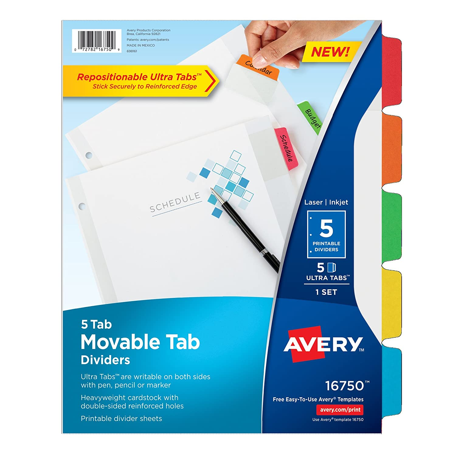Amazon Avery Movable Tab Dividers 5 Tabs 16750 Office