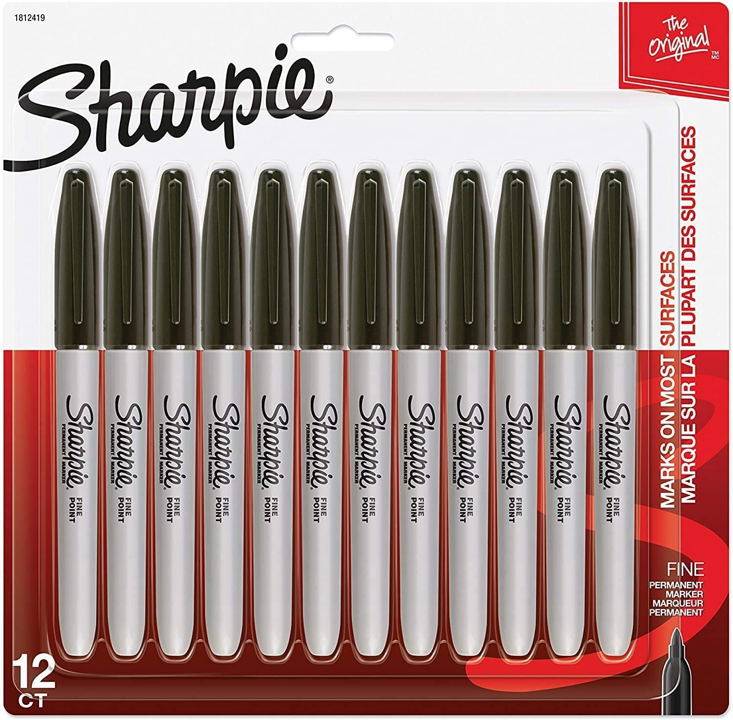 1 Pack of 12 Black Fine Point Sharpie Permanent Markers