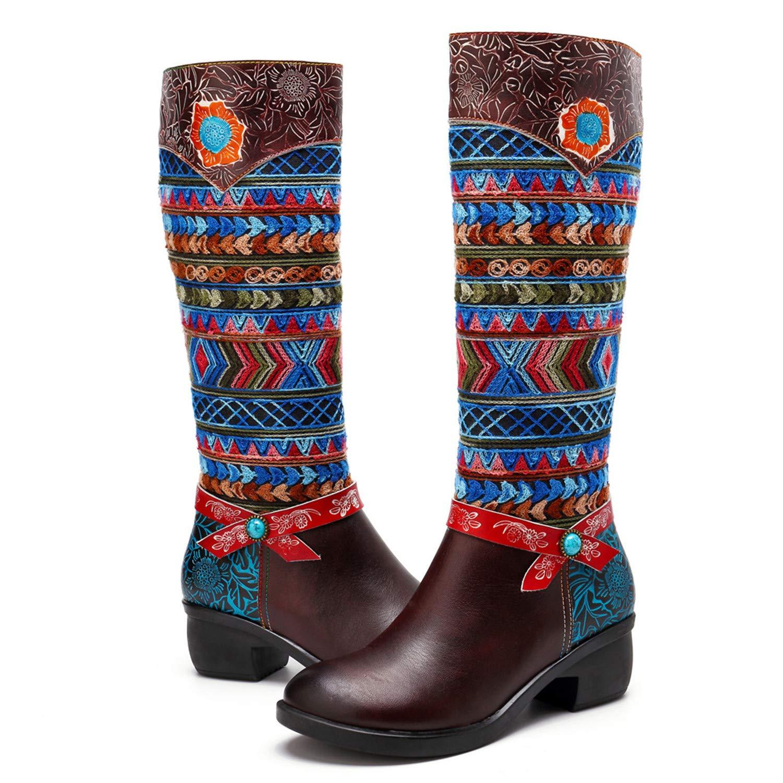 880f689c2fd44 Crazycatz Womens Bohemian Knee High Boots Leather Block Heel Long Bootie  Exotic Pattern