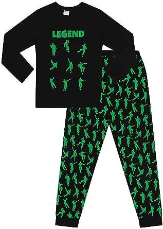 Emote Legend Pijama Corto de algod/ón para ni/ños Color Negro y Verde