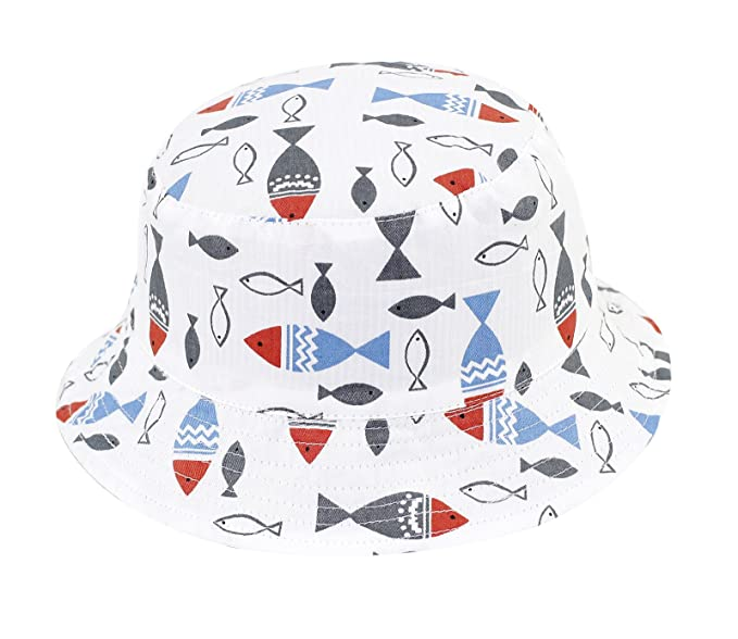 813906399ff Home Prefer Boys Soft Cotton UV Sun Protection Cap Fish Bucket Hat with  Chin Strap Reversible