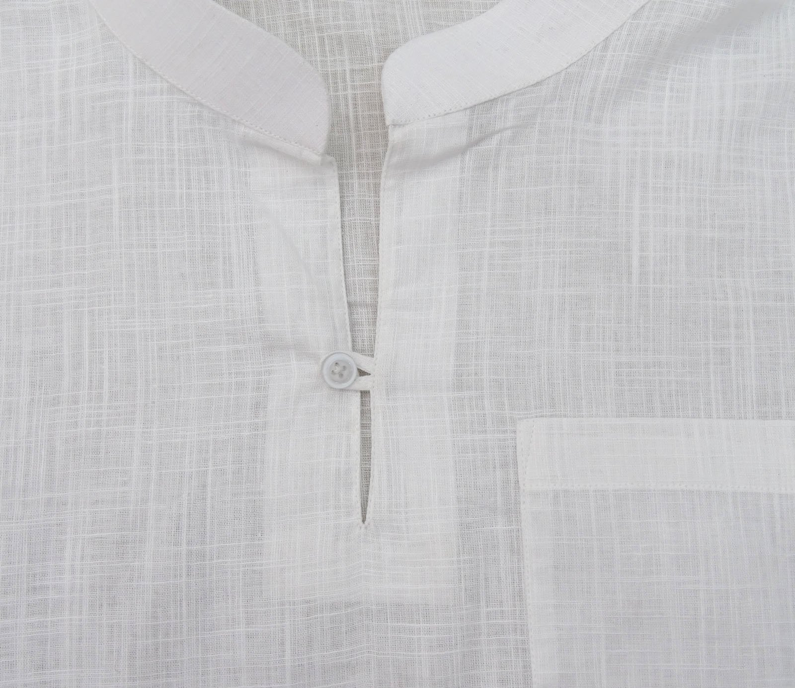 Atasi Men's Band Collar Short Kurta White Cotton Casual Tunic Shirt-Large by Atasi (Image #5)