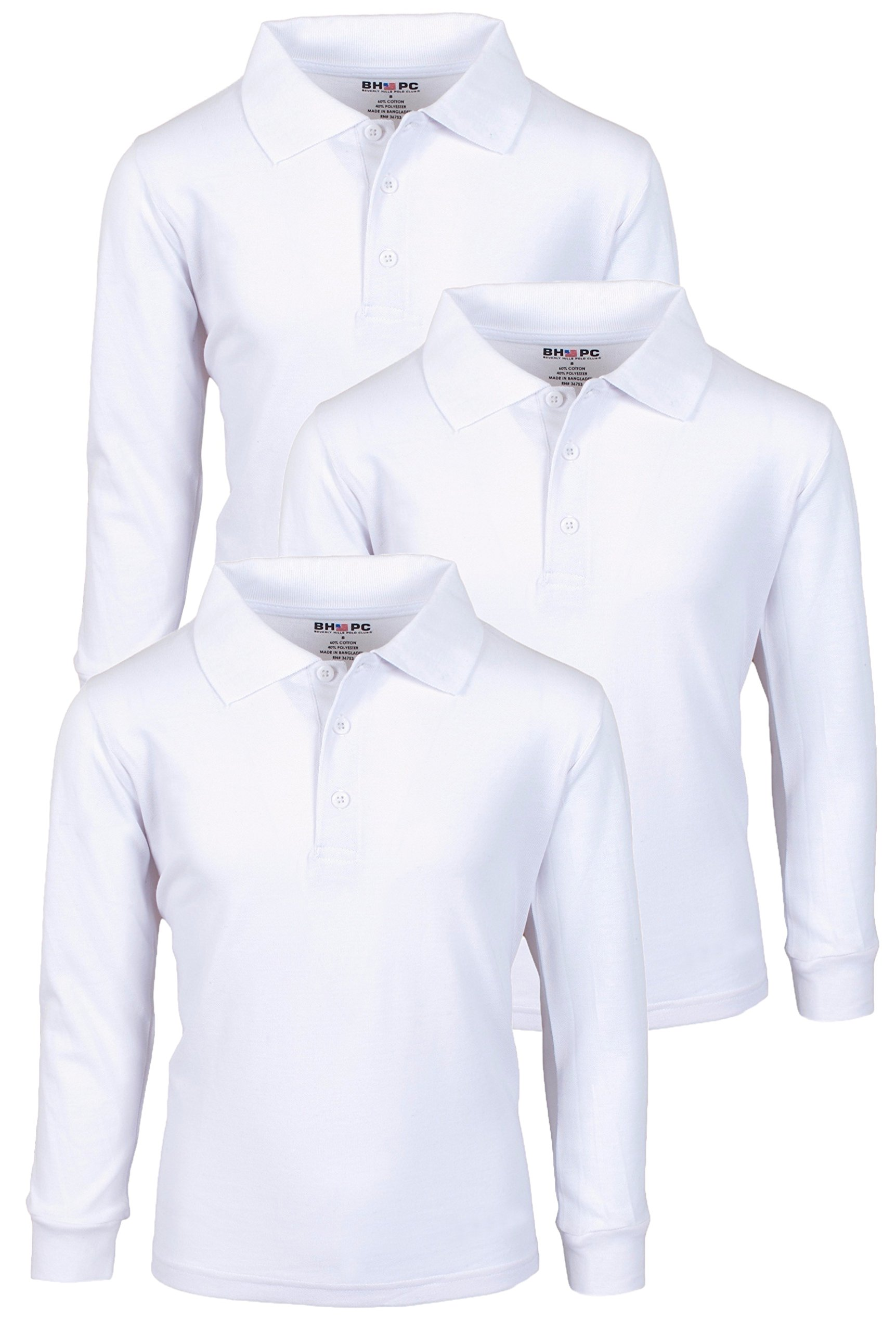 Beverly Hills Polo Club 3 Pack of Boys' Long Sleeve Pique Uniform Polo Shirts, Size 12, White'