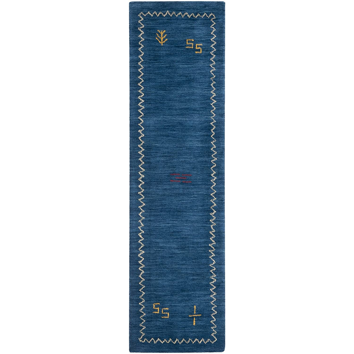Safavieh Himalaya Collection HIM583A Handmade Blue Wool Runner, 2 feet 3 inches by 6 feet (2'3 x 6') HIM583A-26