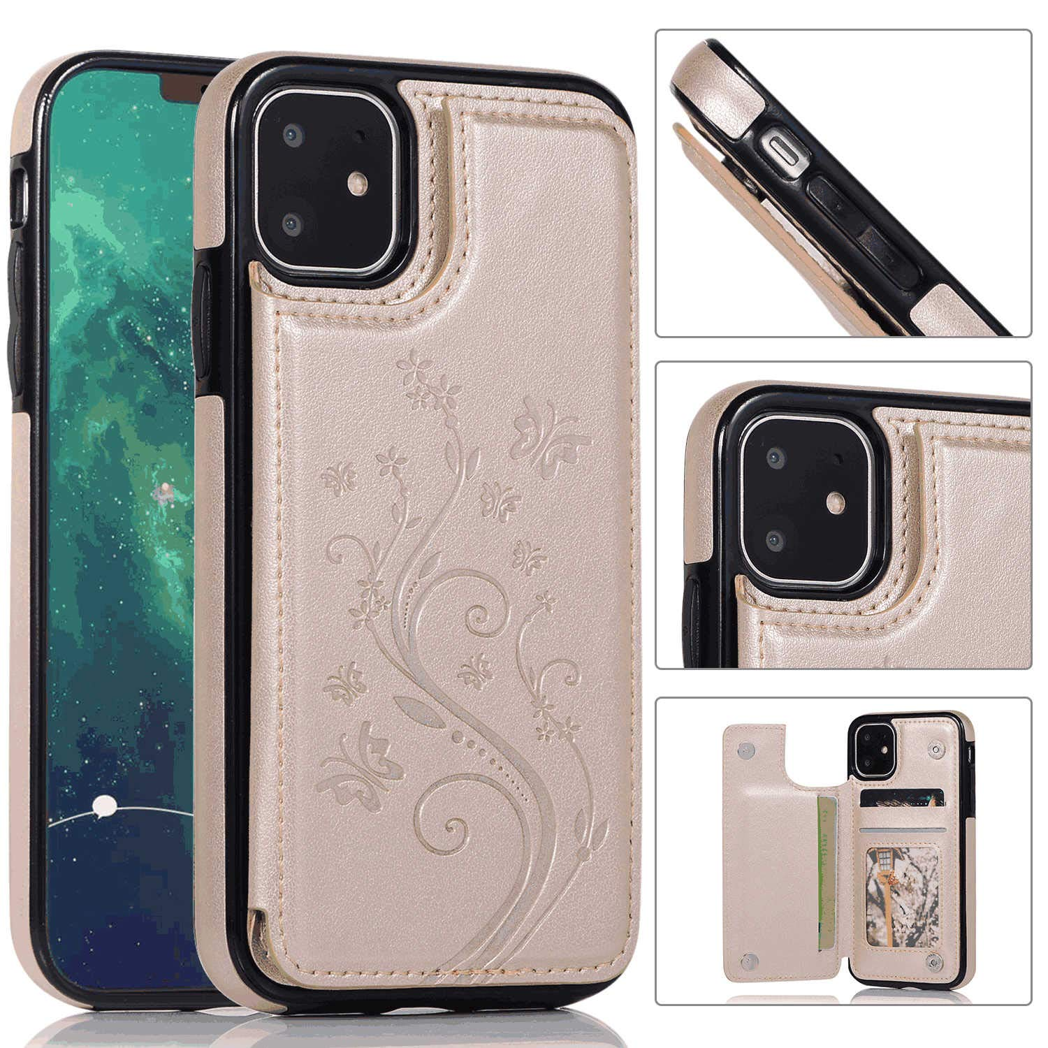 iPhone 11 Pro Flip Case Cover for Leather Kickstand Card Holders Extra-Shockproof Business Cell Phone case Flip Cover