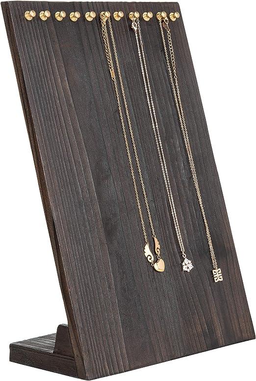 Amazon Com Mygift 12 Inch Dark Burnt Wood Necklace Holder Jewelry Organizer Display Stand Home Kitchen